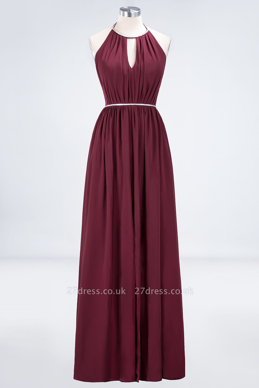 Sexy A-line Flowy Halter Sleeveless Floor-Length Bridesmaid Dress UK UK with Beading Sash