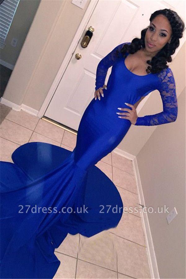 Sexy Scoop Neck Long Sleeves Elegant Mermaid Prom Dress UK UK