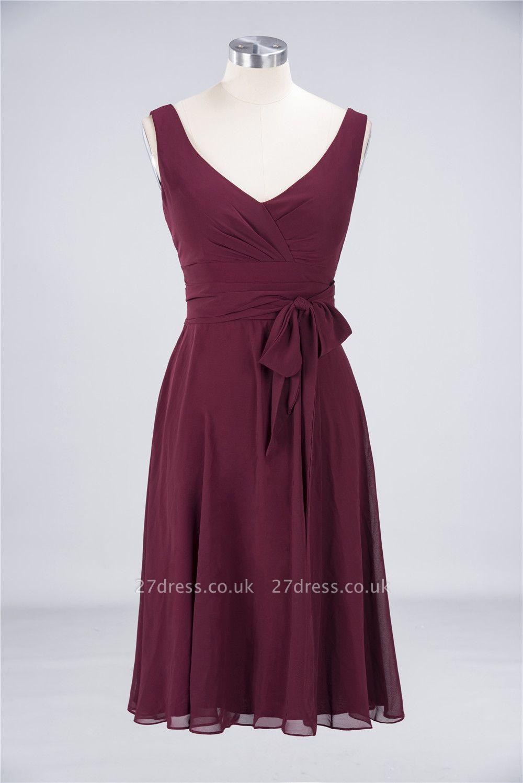 Sexy A-line Flowy Straps Alluring V-neck Sleeveless Ruffles Short length Bridesmaid Dress UK UK with Bow Sash