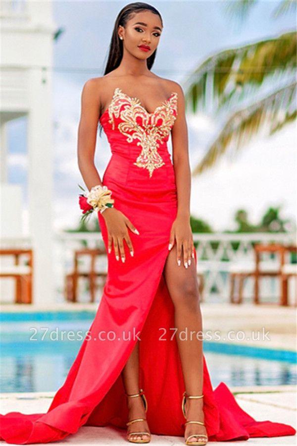 Glittering Elegant Mermaid Strapless Alluring V-neck Appliques Front-Slipt Prom Dress UK