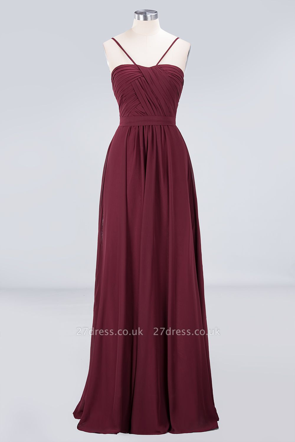 Sexy A-line Flowy Sweetheart Spaghetti-Straps Backless Floor-Length Bridesmaid Dress UK UK with Ruffles