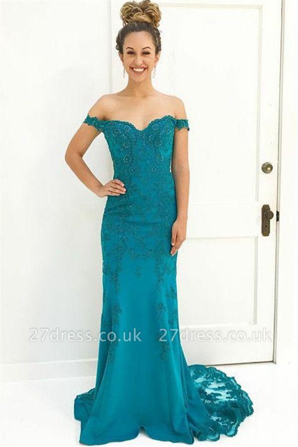 Unique Off-the-Shoulder Appliques Sleeveless Beading Sweep Train Prom Dress UK UK