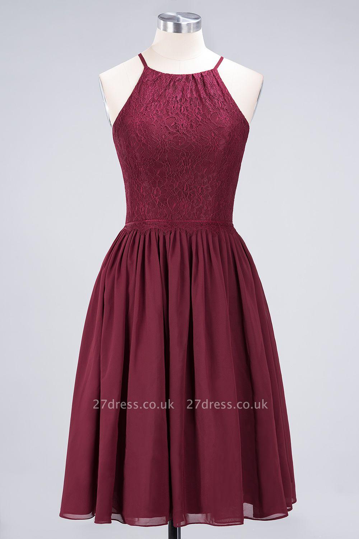 A-line Light Chiffon Lace Jewel Sleeveless Knee-Length Bridesmaid Dress UKes UK UK with Ruffles