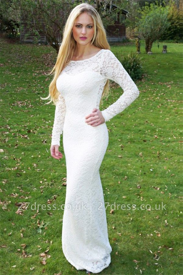 Sexy Scoop Neck Long Sleeves Appliques Sweep Train Prom Dress UK UK