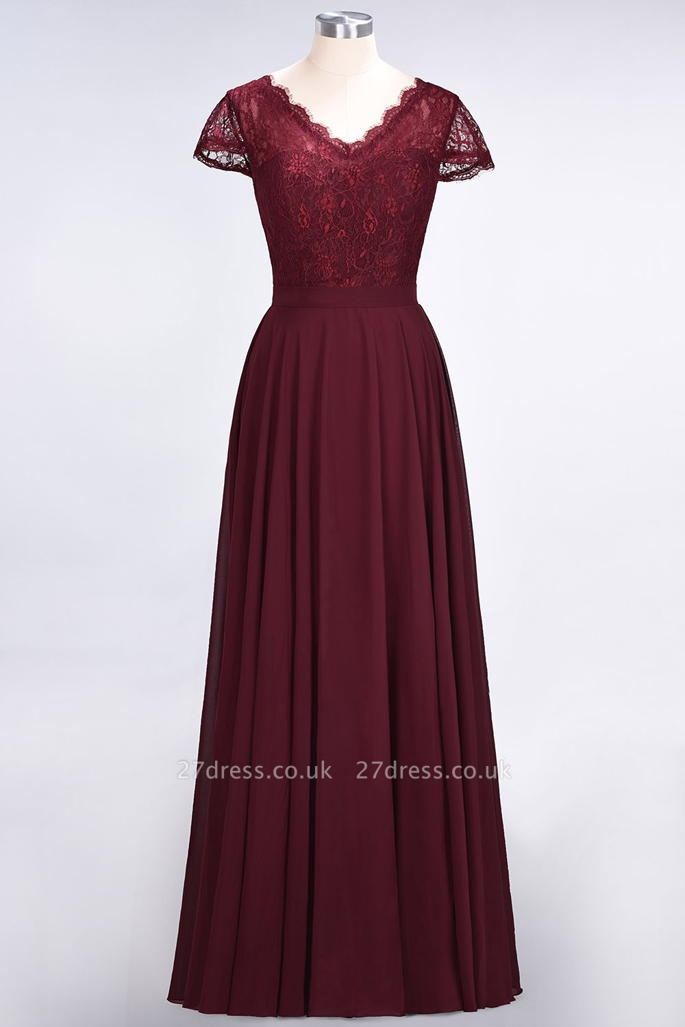 Sexy A-line Flowy Lace Alluring V-neck Cap-Sleeves Floor-Length Bridesmaid Dress UK UK