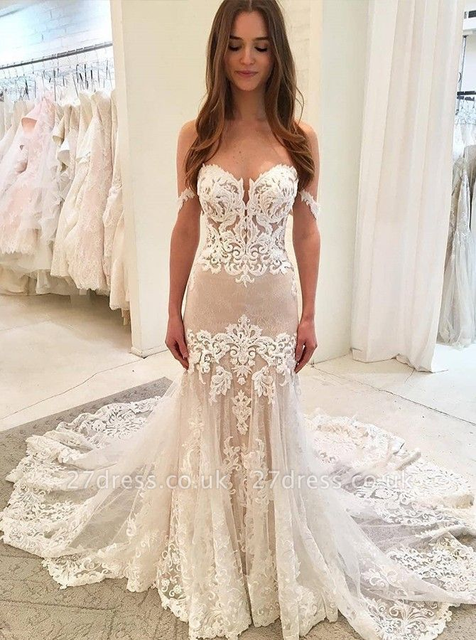 Stunning Appliques Cute strapless Elegant Mermaid Tulle Sweep Train Prom Dress UK UK