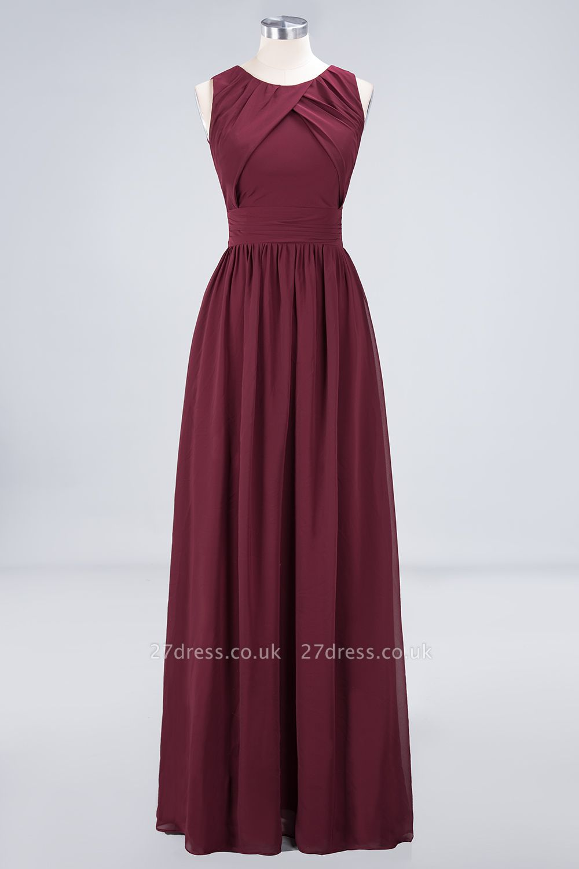 Sexy A-line Flowy Round-Neck Sleeveless Floor-Length Bridesmaid Dress UK UK with Ruffles