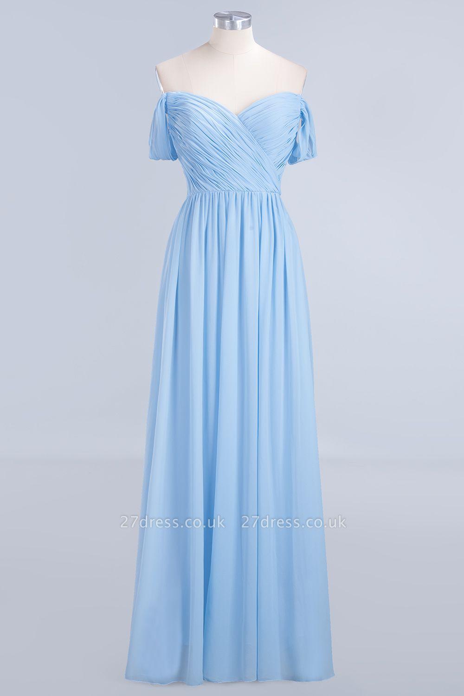 Sexy A-line Flowy Straps Sweetheart Sleeveless Floor-Length Bridesmaid Dress UK UK with Ruffles