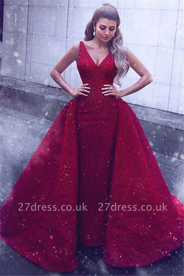 Sheath Lace Alluring V-neck Straps Sleeveless Prom Dress UK with Beadings