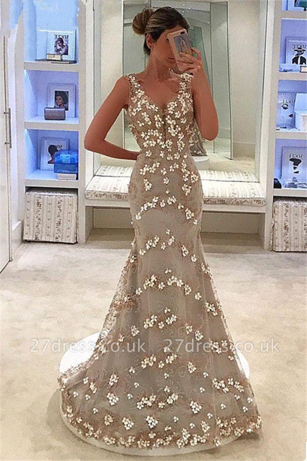 Elegant Mermaid Appliques Sleeveless Straps Alluring V-neck Long Prom Dress UK