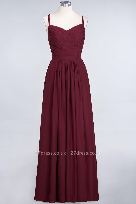 Sexy A-line Flowy Spaghetti-Straps Sweetheart Sleeveless Floor-Length Bridesmaid Dress UK UK with Ruffles