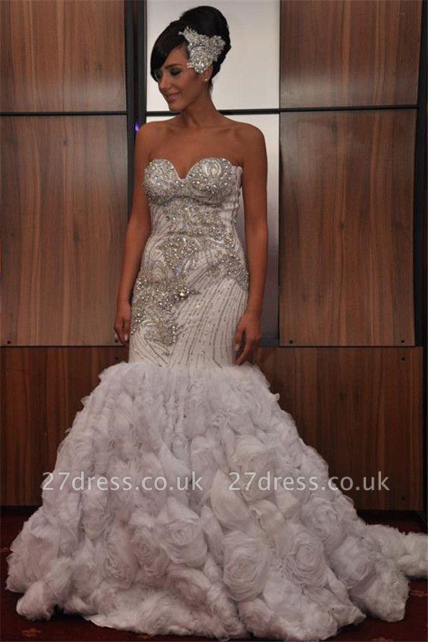 New Arrival Elegant Mermaid Sequins Appliques Strapless Sleeveless Long Prom Dress UK