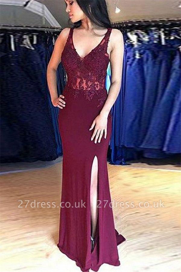 Sexy Straps Sleeveless Front Slipt Appliques Elegant Mermaid Prom Dress UK UK