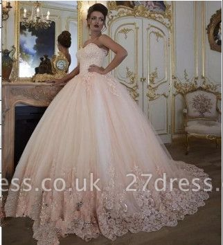 Stunning Sleeveless Tulle Appliques Ball Gown Prom Dress UK UK