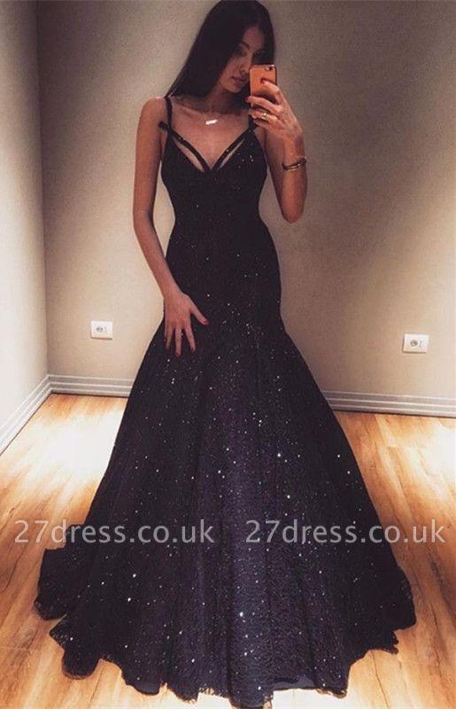 Special Design Elegant Mermaid Spaghetti-Straps Sleeveless Long Prom Dress UK