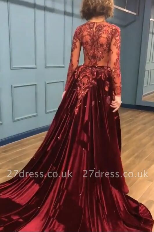 Sparkle Beads Burgundy Velvet Long Sleeves Prom Dress UKes UK UK with Appliques BC0731