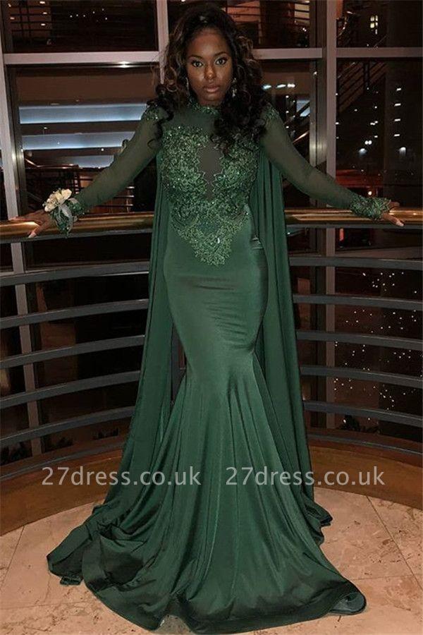 Sexy Scoop Neck Long Sleeves Appliques Elegant Mermaid Prom Dress UK UK