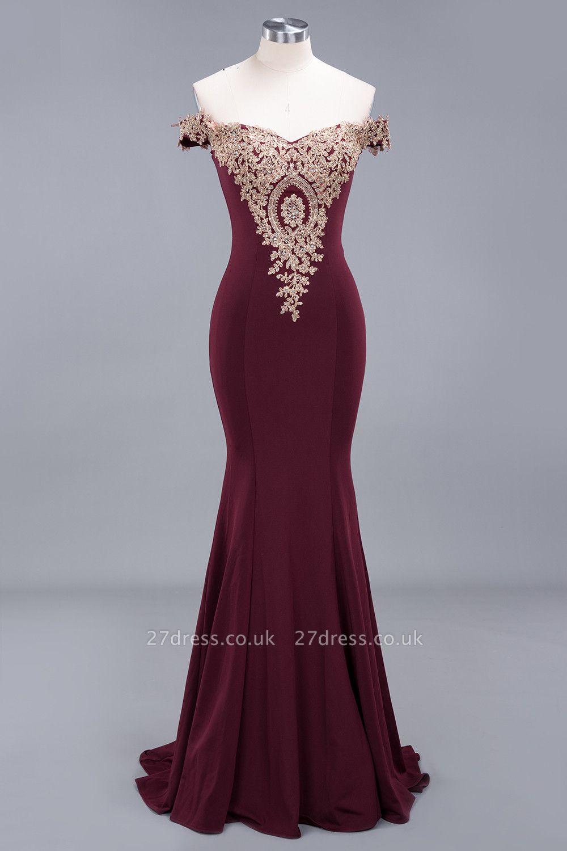 Amazing Off-The-Shoulder Floor-Length Elegant Mermaid Appliques Zipper Prom Dress UK