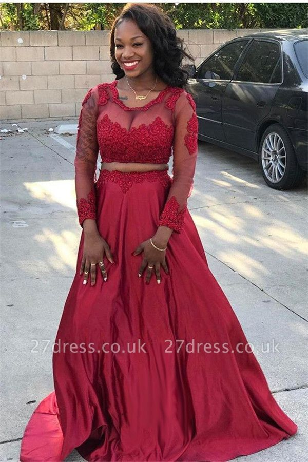 Trendy Two Pieces Scoop Neck Long Sleeves A-Line Prom Dress UK UK