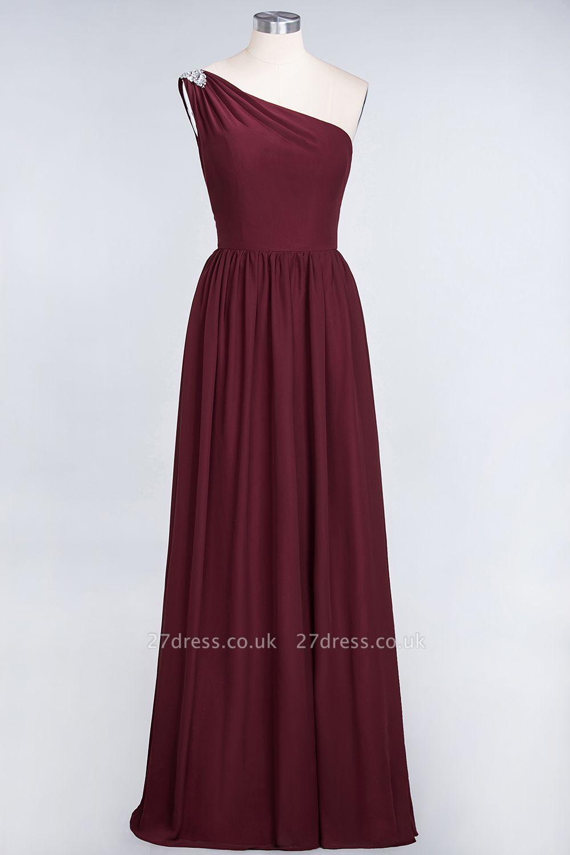Sexy A-line Flowy One-Shoulder Sleeveless Ruffles Floor-Length Bridesmaid Dress UK UK with Beadings