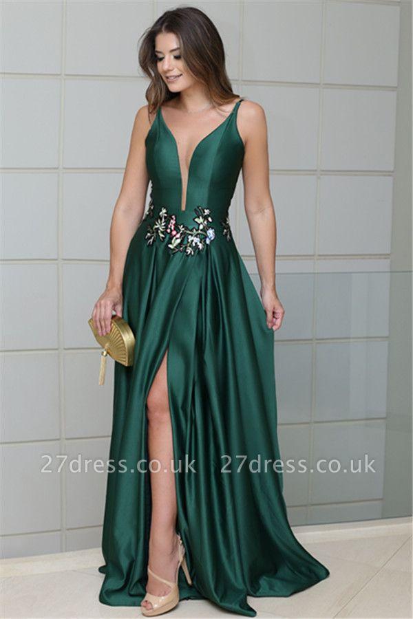 Deep Alluring V-neck Spaghetti Straps Sleeveless Side-Slit Elegant Sexy A-line Prom Dress UK