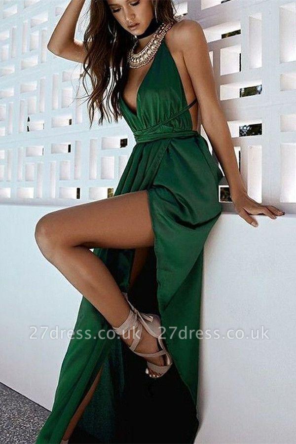 Elegant Hot Deep V-Neck Halter Front Slipt A-Line Prom Dress UK UK
