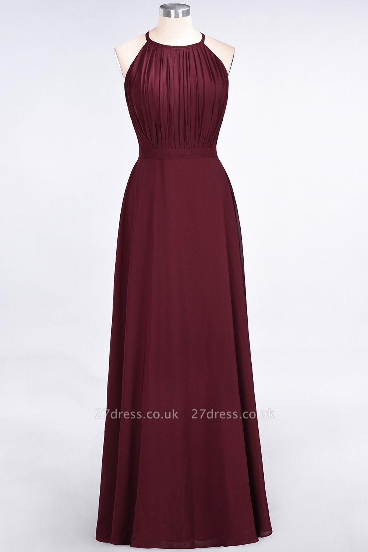 Sexy A-line Flowy Jewel Sleeveless Floor-Length Bridesmaid Dress UK UK with Ruffles