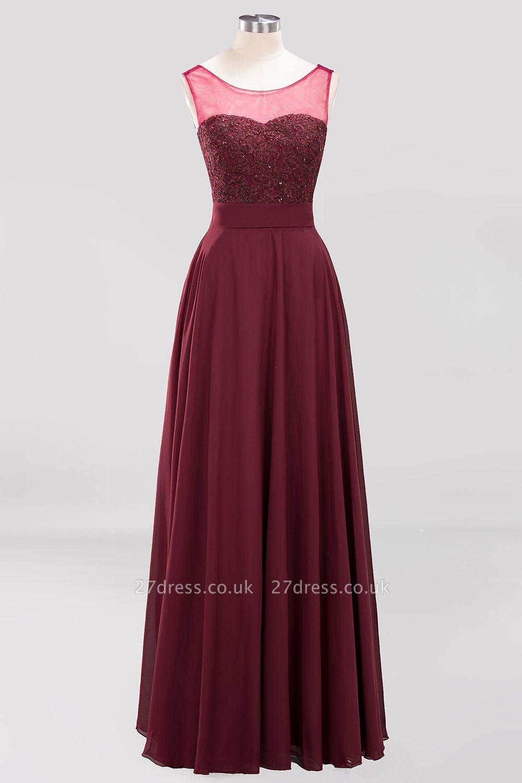 A-Line Light Chiffon Tulle Lace Beadings Jewel Sleeveless Sweep Train Bridesmaid Dress UKes UK UK with Sash