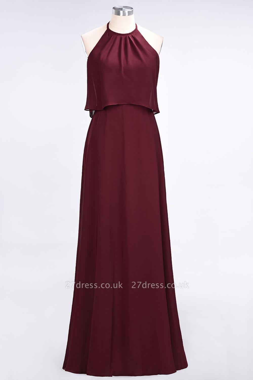 Sexy A-line Flowy Jewel Sleeveless Floor-Length Bridesmaid Dress UK UK