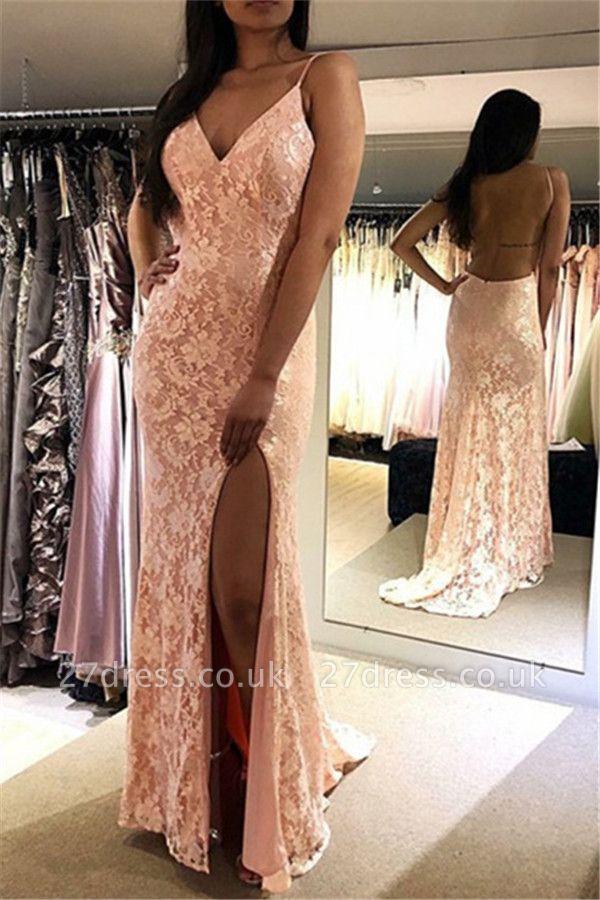 Stunning Spaghetti Straps Appliques Sleeveless V-Neck Open Back Prom Dress UK UK