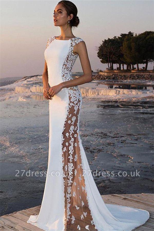 Elegant Mermaid Appliques Jewel Straps Sleeveless Long Prom Dress UK UK