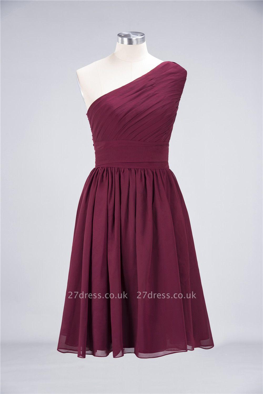 Sexy A-line Flowy One-Shoulder Sleeveless Short length Bridesmaid Dress UK UK with Ruffles