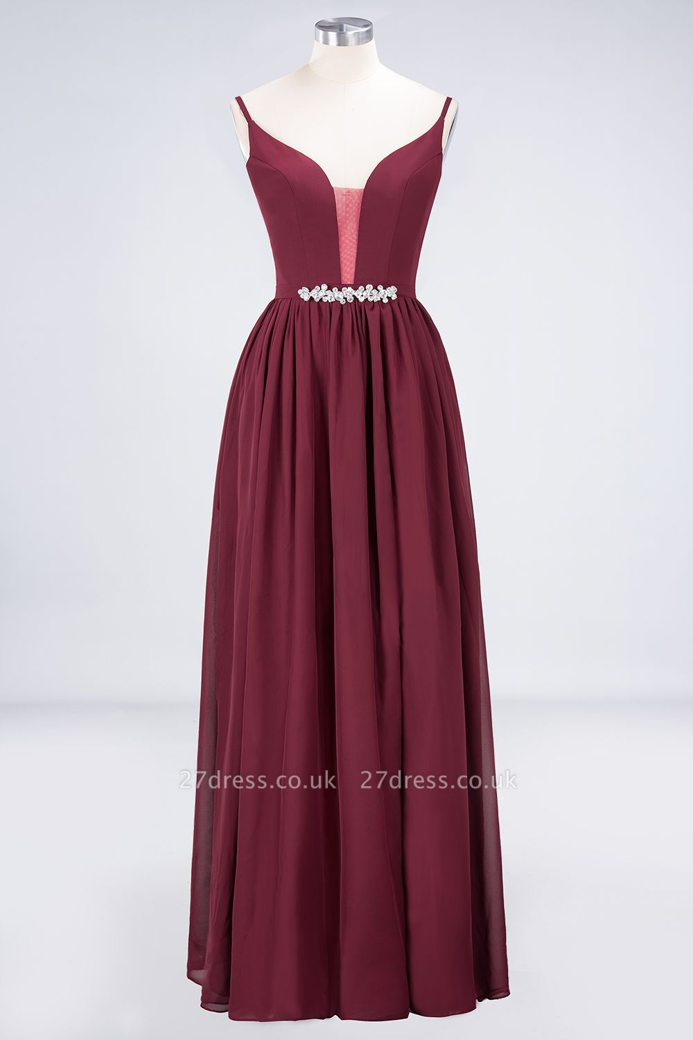 Sexy A-line Flowy Appliques Spaghetti-Straps Deep-Alluring V-neck Sleeveless Floor-Length Bridesmaid Dress UK UK with Ruffles