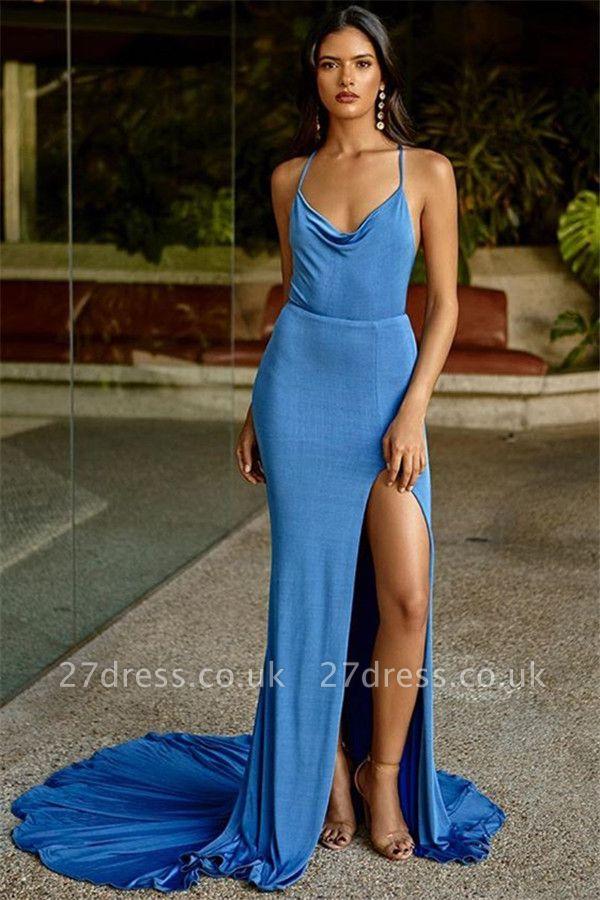 Modern Spaghetti Straps Sleeveless Front Slipt Column Prom Dress UK UK