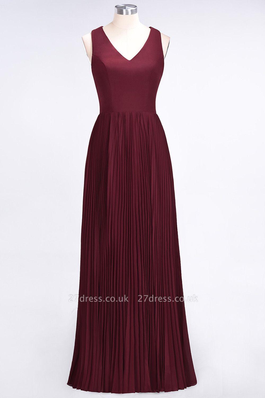 Sexy A-line Satin Flowy Alluring V-neck Sleeveless Floor-Length Bridesmaid Dress UK UK with Ruffles