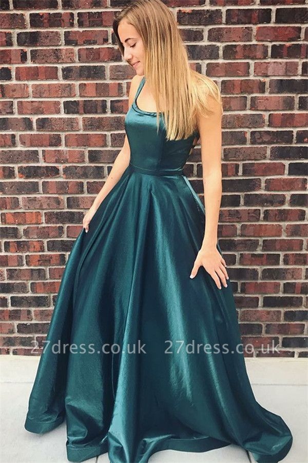 Gorgeous Square Neck Straps Sleeveless A-Line Sweep Train Prom Dress UK UK