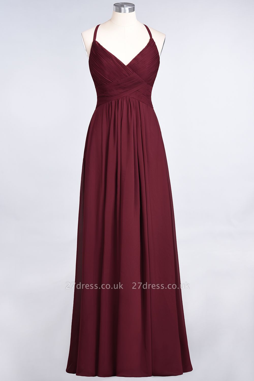 Sexy A-line Flowy Spaghetti-Straps Alluring V-neck Sleeveless Floor-Length Bridesmaid Dress UK UK with Ruffles