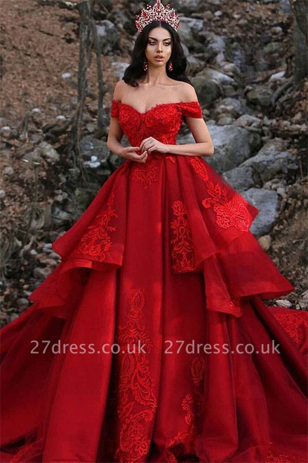 Luxury Appliques Off-the-Shoulder Sleeveless Prom Dress UK
