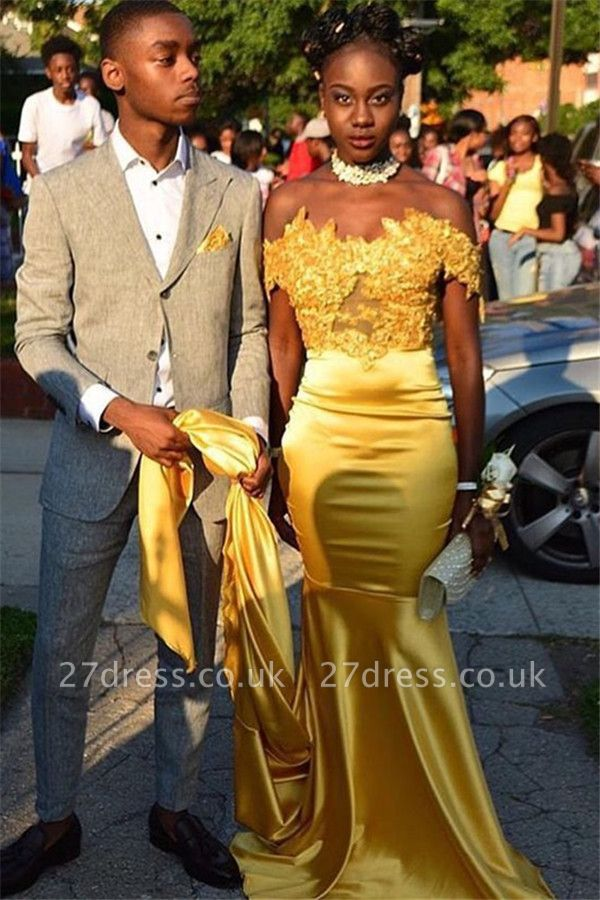Gorgeous Off-the-Shoulder Appliques Long Sleeves Elegant Mermaid Prom Dress UK UK
