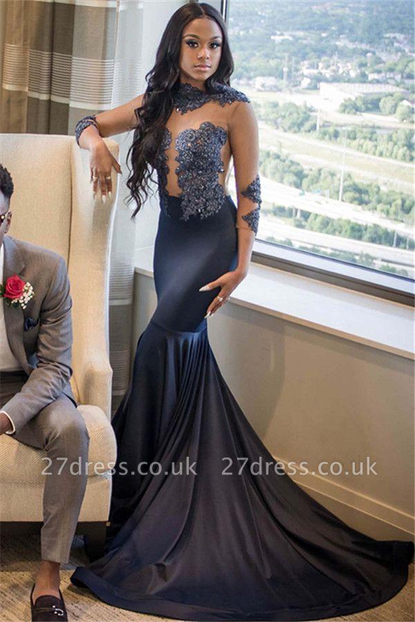 Sexy Elegant Mermaid Appliques 3/4 Sleeves Long Prom Dress UK