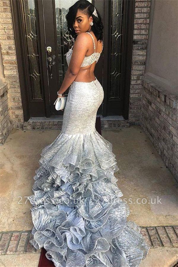 Different Spaghetti Straps Sleeveless V-Neck Elegant Mermaid Prom Dress UK UK
