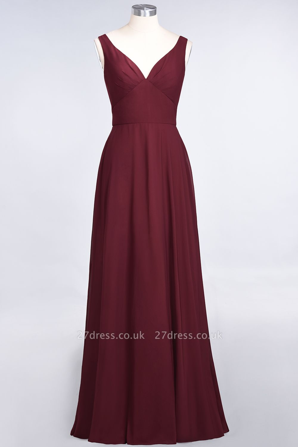 Sexy A-line Flowy Alluring V-neck Straps Sleeveless Ruffles Floor-Length Bridesmaid Dress UK UK with Open Back