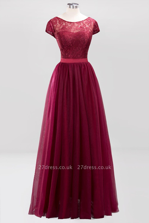 A-Line Light Chiffon Jewel Sleeveless Sweep Train Bridesmaid Dress UKes UK UK with Ruffles