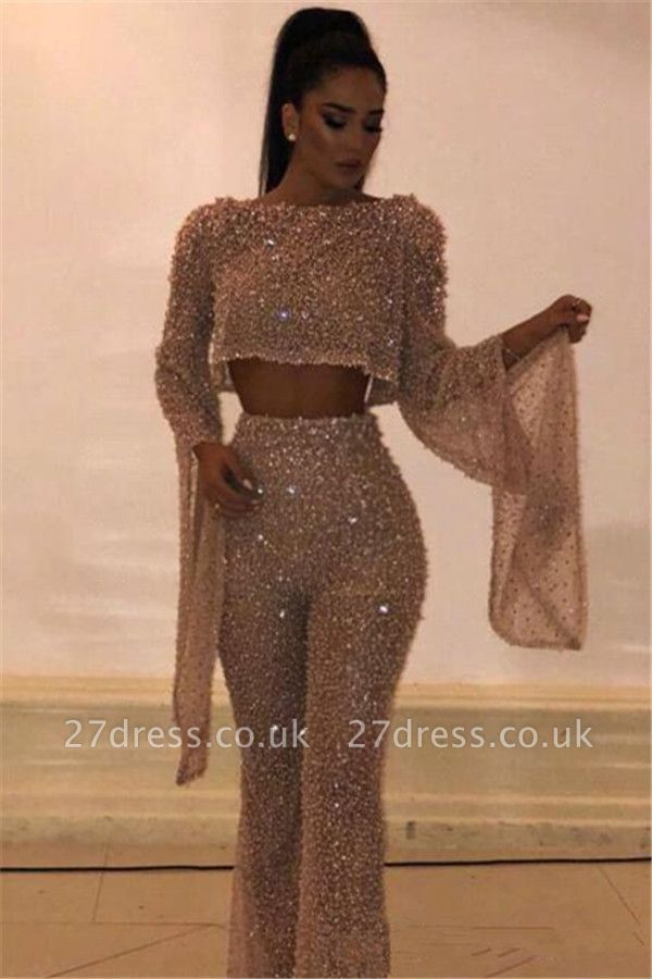 New Arrival Two PieceLong Sleeve Crystals Beads Sequins Open Back Prom Dress UK