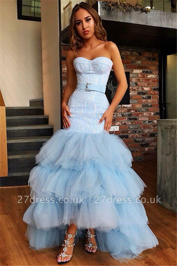 Elegant Mermaid Tulle Layers Strapless Sleeveless High-Low Prom Dress UK