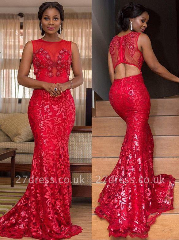Appliques Jewel Sleeveless Elegant Mermaid Prom Dress UK
