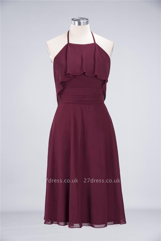 Sexy A-line Flowy Halter Sleeveless Short length Bridesmaid Dress UK UK with Ruffles