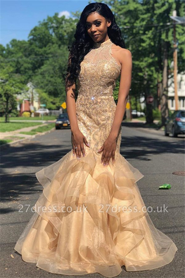 Elegant Mermaid Appliques High-Neck Sleeveless Long Prom Dress UK