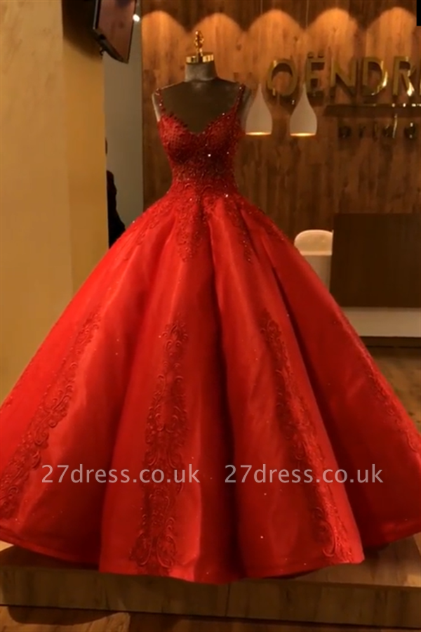 Ruby Straps Sleeveless Ball Gown Appliques Open Back Prom Dress UKes UK UK with Beading