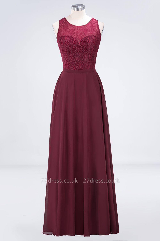 Sexy A-line Flowy Lace Jewel Sleeveless Hollowout Floor-Length Bridesmaid Dress UK UK
